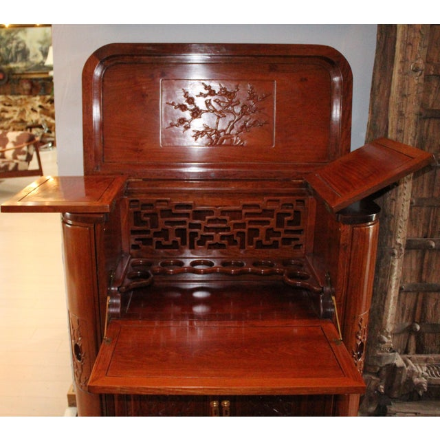 Reproduction Asian Carved Wood Bar - Image 3 of 9
