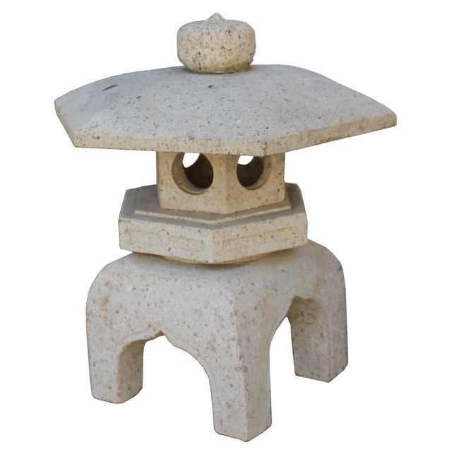 Chinese Zen Off White Gray Hexagon Stone Garden Lantern Statue For Sale In San Francisco - Image 6 of 7