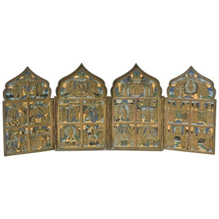 19th Century Russian Enamel and Brass Folding Travel Prayer Icon