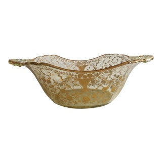 Cambridge Style Gold Encrusted Glass Bowl For Sale