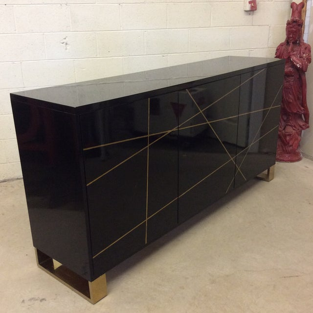 Modern History Black Lacquer and Brass Abstract Credenza For Sale - Image 10 of 12