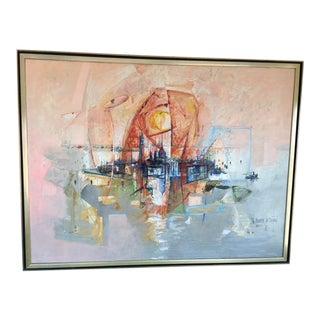 """1970s Vintage """"Reve Sur San Georgio"""" Oil Painting by Regis De Bouvier De Cachard For Sale"""