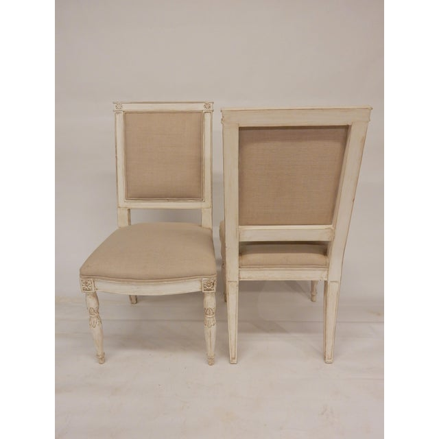 High-quality French painted Directoire style dining chairs, solid construction.