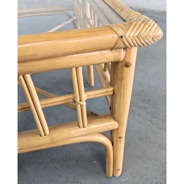 1980s Vintage Boho Chic Rattan Coffee Table For Sale - Image 5 of 9