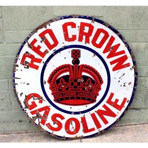Red Crown Gasoline Porcelain Sign - Image 4 of 4