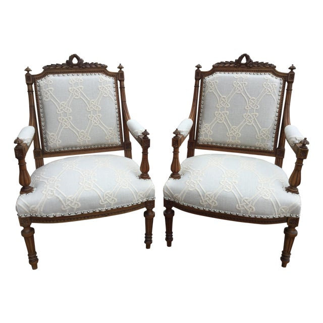 Antique French Walnut Armchairs - A Pair For Sale