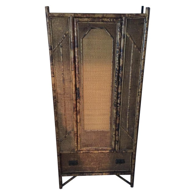 Antique Tortoise Shell Bamboo Armoire - Image 1 of 5
