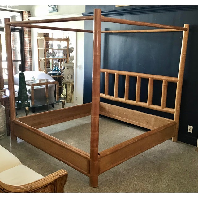 Vintage Boho Chic King Size Bamboo Canopy Bedframe For Sale - Image 12 of 12