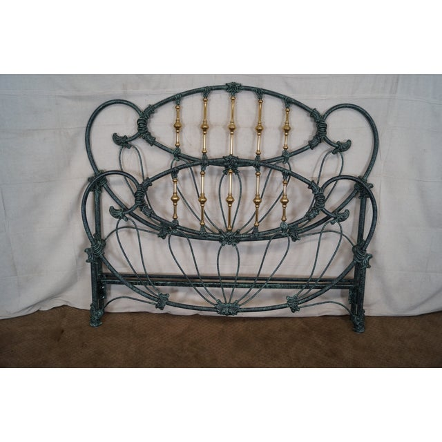 Elliots Designs Inc. Victorian style faux painted iron and brass queen size headboard with footboard. Can easily attach to...