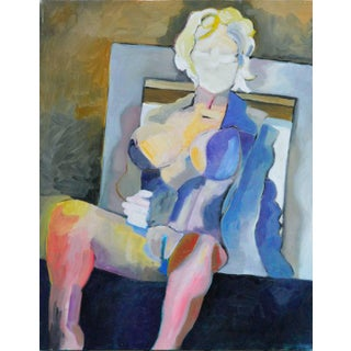 1990s Modernist Seated Nude in a Blue Coat Oil Painting For Sale