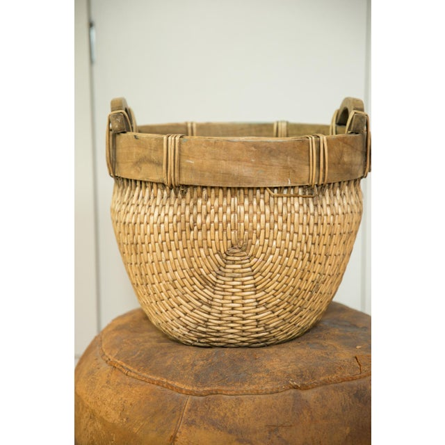 Tan Natural Vintage Willow Basket For Sale - Image 8 of 10