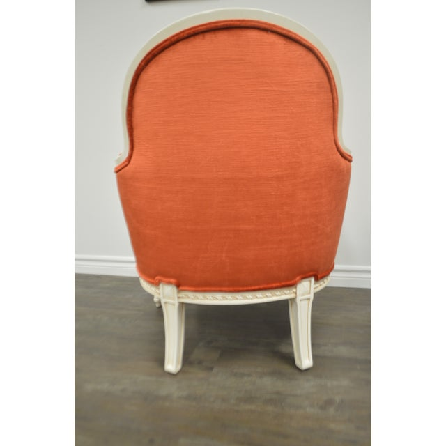 Pair of Louis XVI Style Painted Bergere Chairs Newly Uphostered in a Tangerine Velvet. For Sale - Image 9 of 10