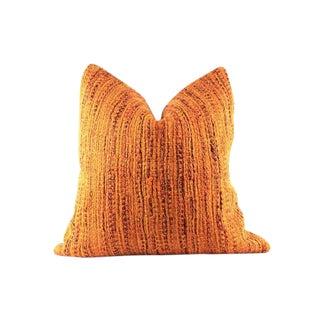 "Orange Boucle Woven Pillow 22"" x 22"" For Sale"