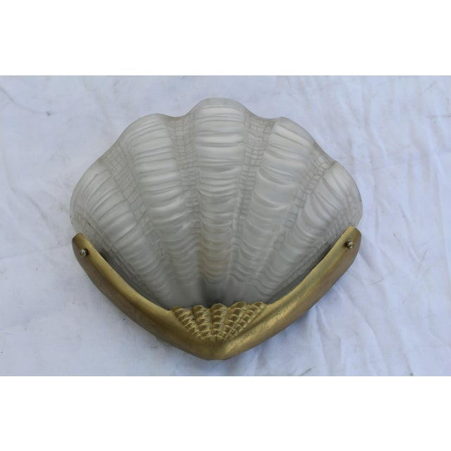 1920s Antique, Art Deco Shell Glass Shade Brass Frame , Sconce For Sale - Image 5 of 5