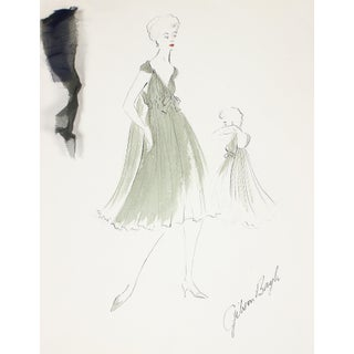 Flowy Olive Green Dress Gouache & Ink 1950's Fashion Illustration For Sale