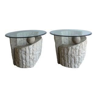 1980s Mactan Stone Side Tables- a Pair For Sale