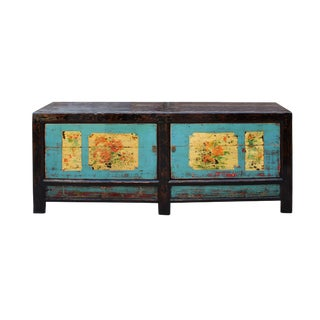 Chinese Oriental Graphic Blue Sideboard Console Table Tv Cabinet For Sale