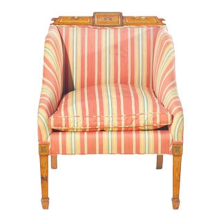 19th C. English Painted Satinwood Club Chair For Sale