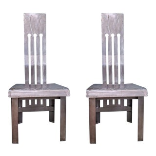 Pair of Metal Industrial Side Chairs For Sale