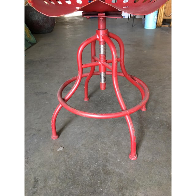 2000 - 2009 Rustic Industrial Steel and Iron Tractor Work Stool For Sale - Image 5 of 8