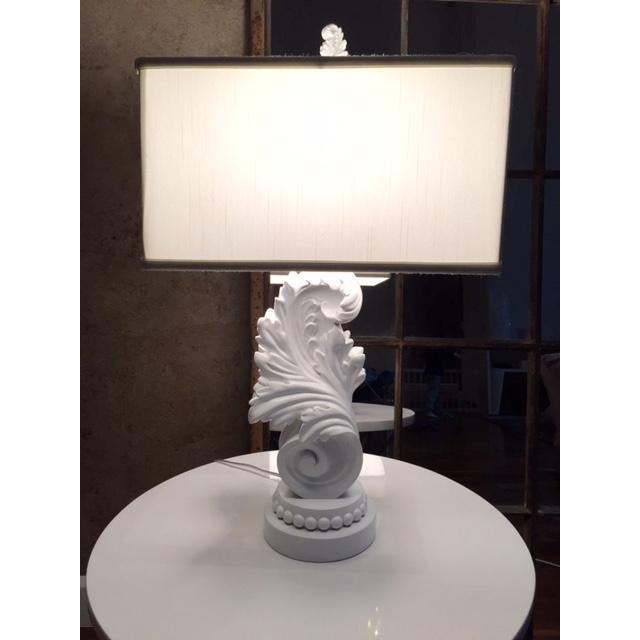 White Lacquer Brocade Table Lamp - Image 2 of 4
