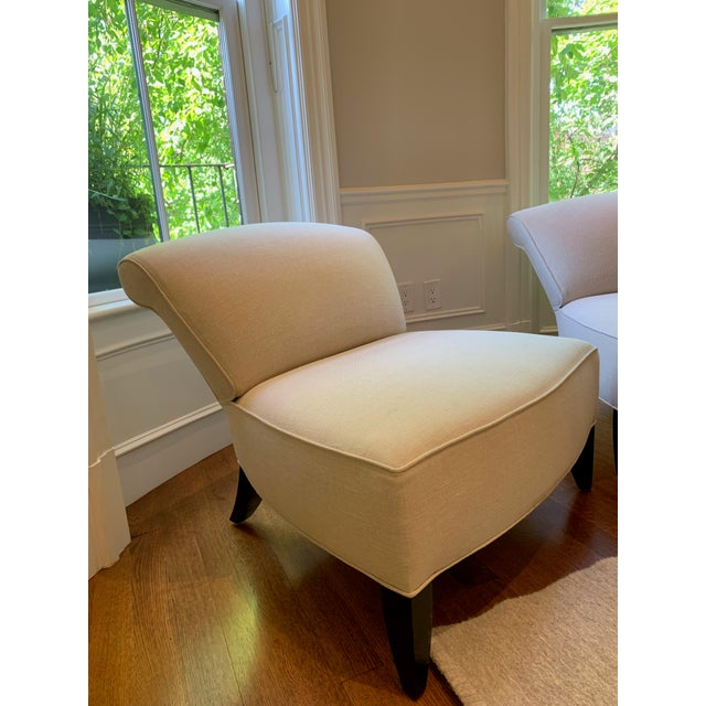 Chic Todd Hase Amelia slipper chairs upholstered in a gorgeous godiva mohair. We're sad to part with these chairs but are...
