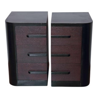 Streamline Pair of Modernage Art Deco Bookend Matched Ebonized Nightstands For Sale