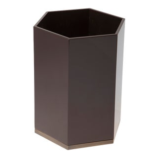 Hexagonal Bin in Chocolate - Veere Grenney for The Lacquer Company For Sale