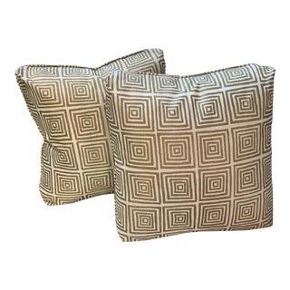 Pair of Custom Turkish Quadrille Gold Pillows