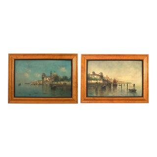 Pair of Italian Venetian Canal Scene Paintings, 19th Century For Sale