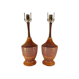 Mid-Century Danish Ceramic Lamps - A Pair