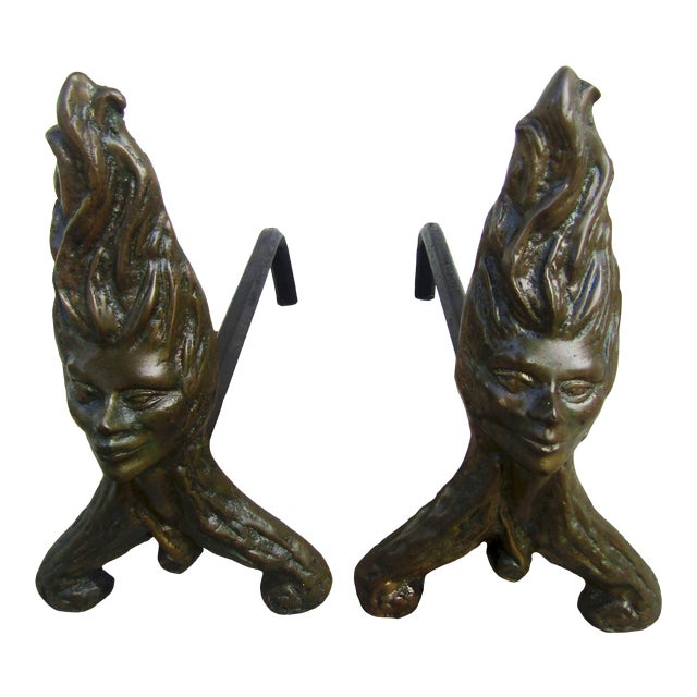 Antique Fire Dog Chenet Figural Water Nymph Fireplace Andirons - a Pair For Sale