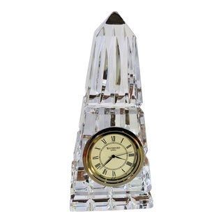 Waterford Traditional Obelisk Crystal Desk Clock For Sale