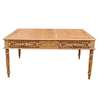 Extraordinary Library Writing Bone Inlay Table For Sale