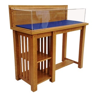 Arts and Crafts Style Oak Display Case With Plexiglass Bonnet For Sale