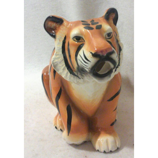 Ceramic Tiger Pitcher For Sale - Image 5 of 8
