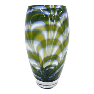 Murano Style Marbled Art Glass Vase For Sale