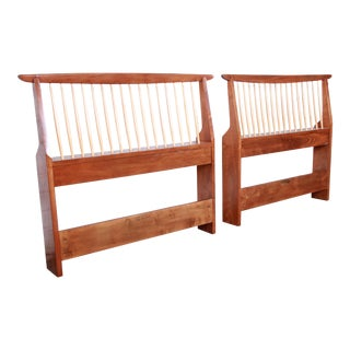 George Nakashima for Widdicomb Origins Collection Sculpted Walnut Twin Headboards, Pair For Sale