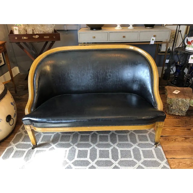Traditional Fruitwood and Faux Black Leather Loveseat For Sale In Philadelphia - Image 6 of 9