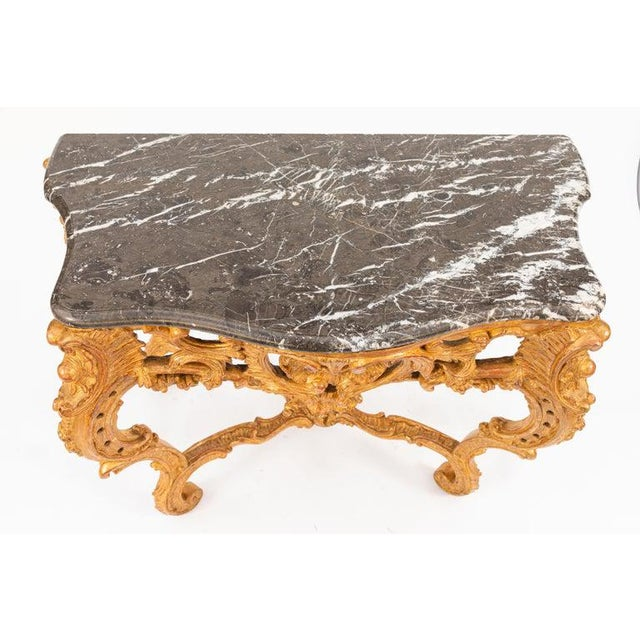 Gold 19th Century French Giltwood Consoles With Marble Tops - a Pair For Sale - Image 8 of 10