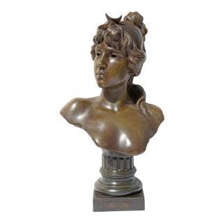 Antique Art Nouveau Bust of Diana by Emmanuel Villanis For Sale