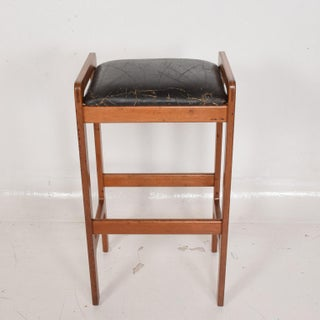 Danish Modern Teak Bar Stool With Leather Seat Preview