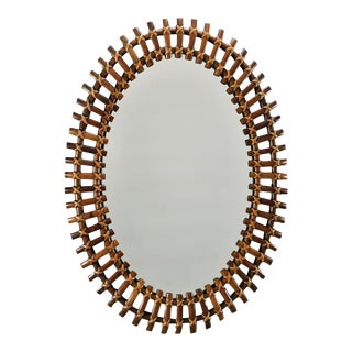 Mid-Century Oval Bamboo Framed Mirror For Sale