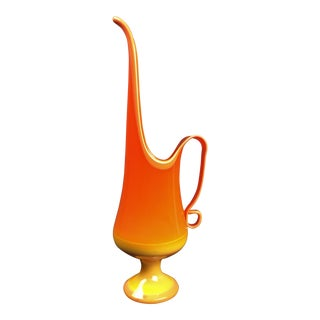 Mid-20th Century L E Smith Orange and Yellow 'Bittersweet' Glass Stretched Pitcher & Candle Holder For Sale