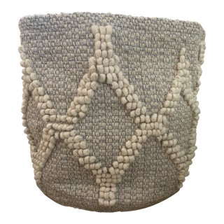 Pottery Barn Kids Metallic Woven Wool Basket For Sale