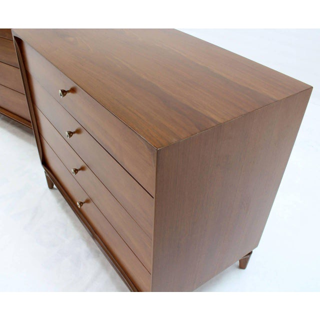 Brown Pair of Mid-Century Modern Walnut 4 Drawer Bachelor Chests or Dressers For Sale - Image 8 of 8