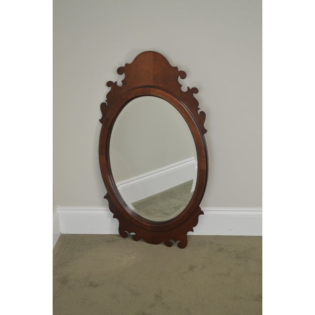 Cherry Wood Victorian Style Cherry Oval Beveled Wall Mirror For Sale - Image 7 of 12