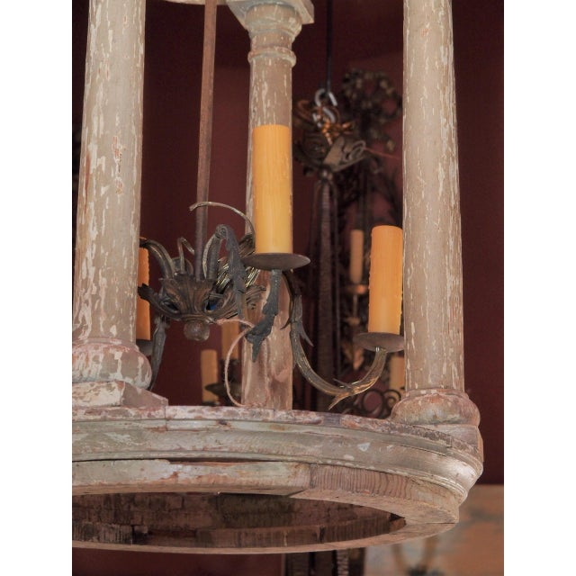 2000s Large French and Iron Wood Painted Lantern For Sale - Image 5 of 10