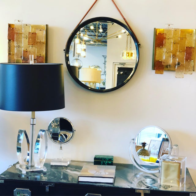 Mid Century Modern Jacques Adnet Style Black Lacquered Mirror with Copper Leather Strap - Image 8 of 8