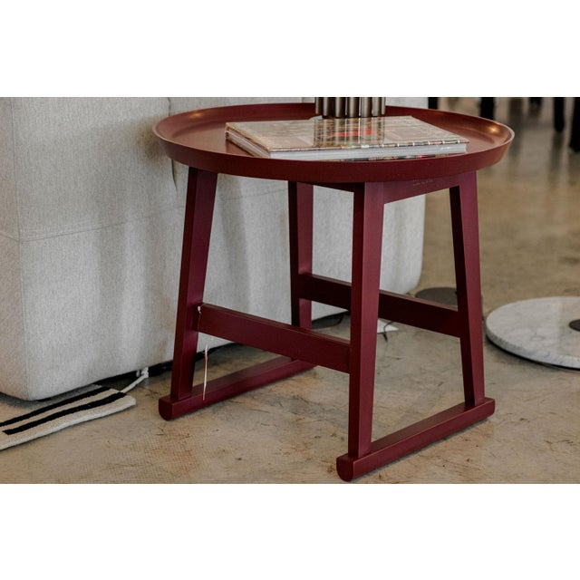 Antonio Citterio Red Matte Shellac Round Side Table, B&b Italia For Sale - Image 4 of 5